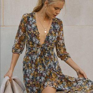 Ruffle hem midi dress with matching scrunchie